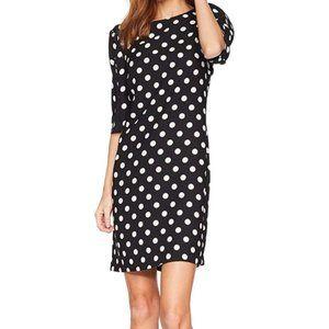 VINCE CAMUTO Black & White Polka Dot Midi Dress
